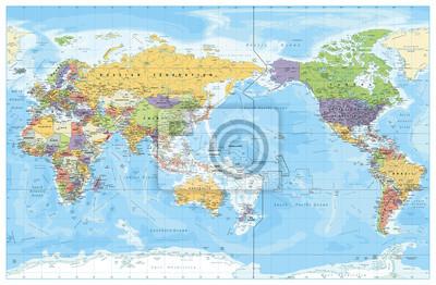 Plakat Mapa polityczna świata skoncentrowana na Pacyfiku. Kraje i stolice, miasta, granice i obiekty wodne, zarys stanu. Szczegółowa ilustracja wektorowa mapa świata.