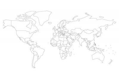 Plakat Mapa polityczna świata z kropkami zamiast małych państw. Pusta mapa do quizu szkolnego. Uproszczony czarny cienki kontur na białym tle.