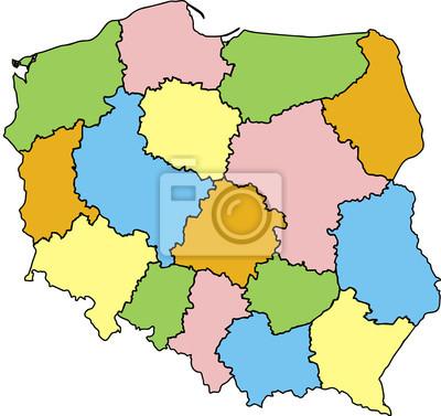 Mapa Polski Wojewodztwa Kolorowa Plakaty Na Sciane Plakaty