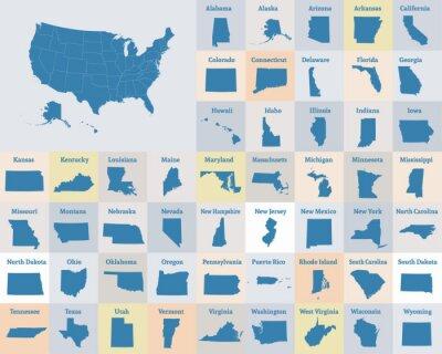 Plakat Mapa przeglądowa Stanów Zjednoczonych Ameryki. Stany Zjednoczone. Wektor.