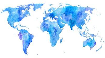 Plakat Mapa świata.Earth.Watercolor ręcznie rysowane illustration.White tła.