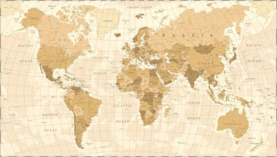 Plakat Mapa świata Vintage Vector