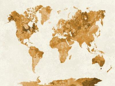 Plakat Mapa świata w akwareli pomarańczowy