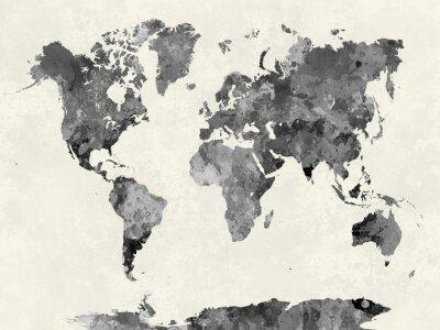 Plakat Mapa świata w akwareli szary
