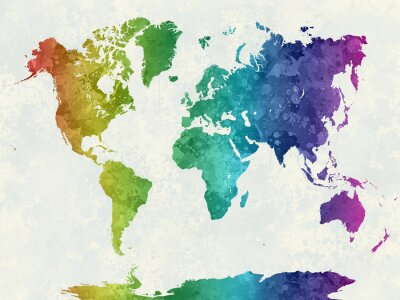 Plakat Mapa świata w akwareli tęczy