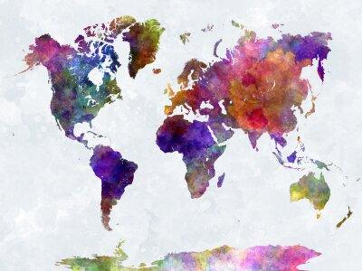 Plakat Mapa świata w watercolorpurple i niebieskie