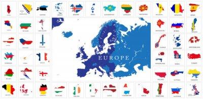 Plakat Mapy flagi krajów europejskich