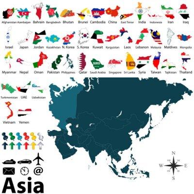 Plakat Mapy polityczne Azji