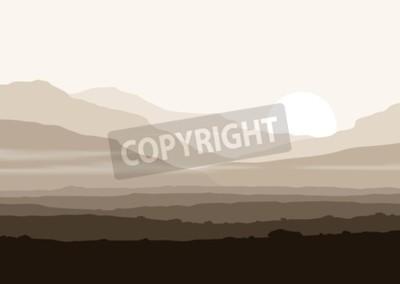 Plakat Martwe krajobraz z ogromnymi górami ponad słońcem. Wektor eps10 panorama.