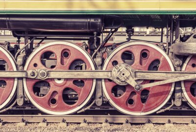 Plakat Mechanical part and wheels of the steam locomotive.