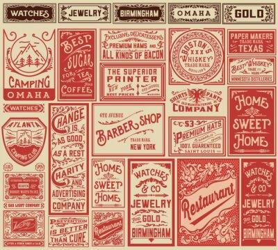 Plakat Mega Pack retro wzory reklamowych i etykiet - Vector illust