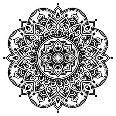 Plakat Mehndi, Indian Henna tatuaż lub wzór tła