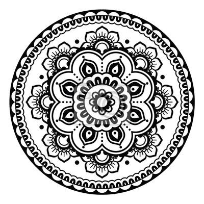 Plakat Mehndi Indyjski Tatuaż Henna Okrągły Wzór Kwiatowy