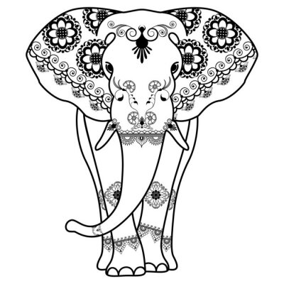 Plakat Mehndi tatuaż słonia urządzony w stylu indyjskim