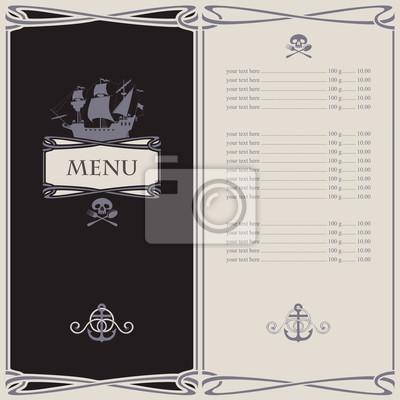 menu na temat piratów