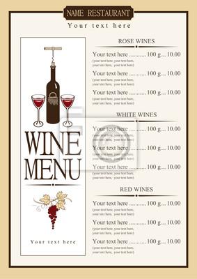 menu wino z cennikiem różnych win
