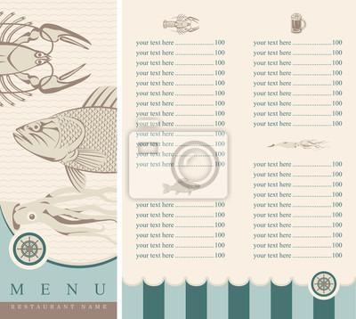 menu z owocami morza