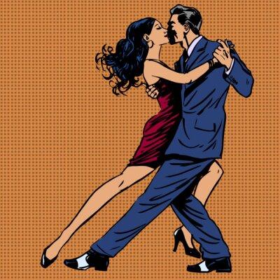 Plakat mężczyzna i kobieta taniec tango pocałunek pop art
