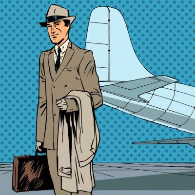 Plakat Mężczyzna podróżnych powietrznej pasażera podróż służbowa biznesmen ponownie Pop Art