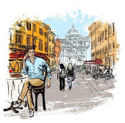 Plakat Mężczyzna siedzi w kawiarni