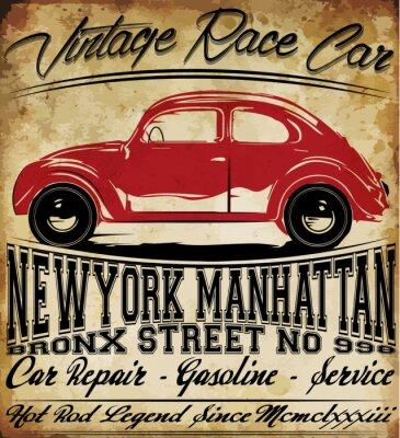 Plakat mężczyzna T koszula Old Car Vintage Klasyczne Retro Graphic Design
