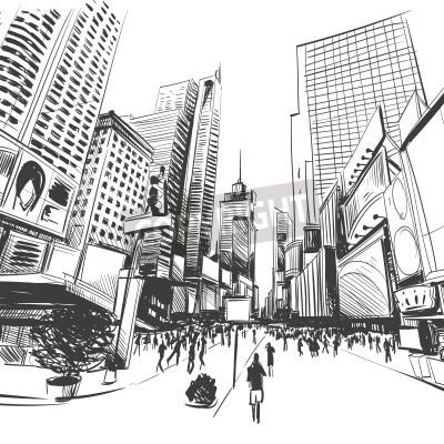 Plakat Miasto wyciągnąć rękę, ilustracji wektorowych