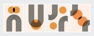 Plakat Mid century abstract contemporary aesthetic design  set with geometric balance shapes, modern minimalist artprint.