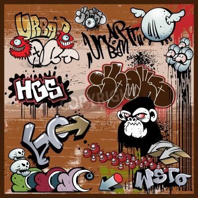 Plakat miejskie elementy sztuki graffiti,