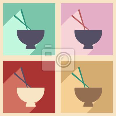 Plakat Mieszkanie z koncepcją cień i aplikacji mobilnych zupy miso