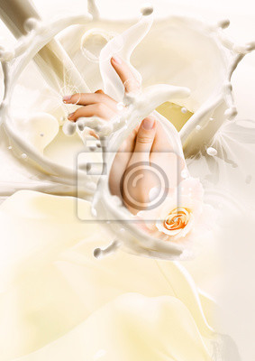 Plakat Milk and hands. Creative illustration