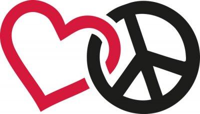 Plakat Miłości i pokoju znaki przeplatają
