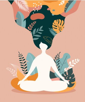Plakat Mindfulness, meditation and yoga background in pastel vintage colors - women sitting with crossed legs and meditating.