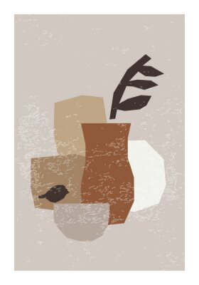 Plakat Minimal wall art poster with abstract organic shapes composition in trendy contemporary collage style