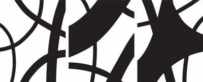 Plakat minimalist Organic abstract art mid century modern style black and white artwork templates vector set