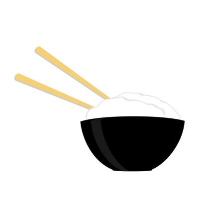 Plakat Miska ryżu z dwoma pałeczkami