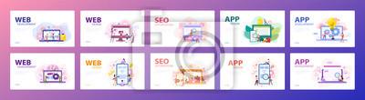 Plakat Mobile app and web development banner concept set.