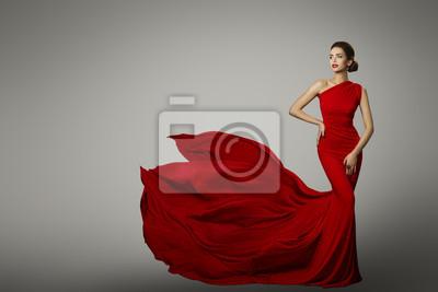 Plakat Modelka w Czerwona Sukienka Piękna, Sexy Kobieta stwarzających wieczór Gown, Flying Silk Ogon na szarym tle