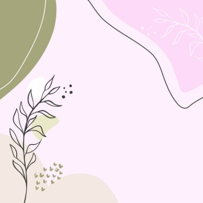 Plakat Modern abstract floral art vector leaves background.