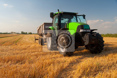 Plakat Modern green tractor on agricultural field during harvest on sunny summer day