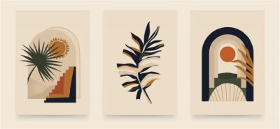 Plakat Modern minimalist abstract aesthetic illustrations. Bohemian style wall decor. Collection of contemporary artistic posters.