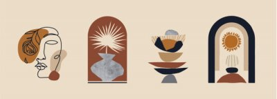 Plakat Modern minimalist abstract aesthetic illustrations. Bohemian style wall decor. Collection of contemporary artistic prints.