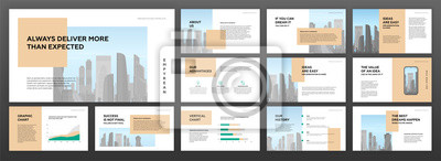 Plakat Modern minimalistic presentation templates set for business with cityscape vector illustration on background
