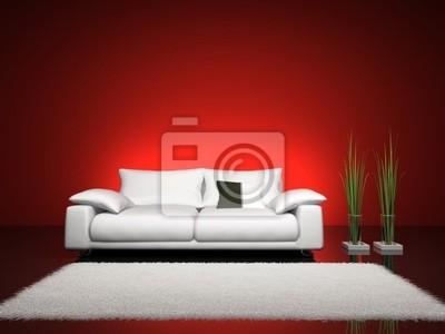 Plakat Modne Wnętrze Z Czerwonej ścianie Renderowania 3d