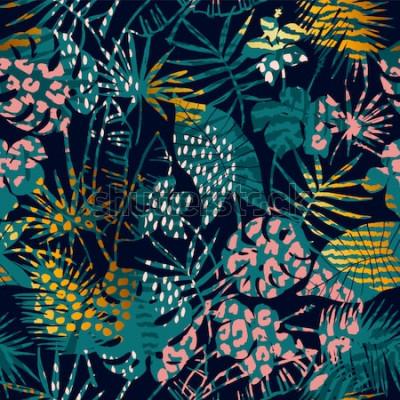 Plakat Modny egzotyczny wzór z tropikalnymi roślinami i nadrukami zwierząt. Ilustracji wektorowych. Nowoczesny projekt abstrakcyjny dla papieru, tapety, okładki, tkaniny, wystroju wnętrz i innych użytkownikó