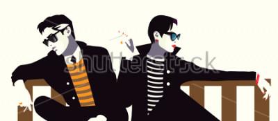 Plakat Modny mężczyzna i kobieta w stylu pop art.