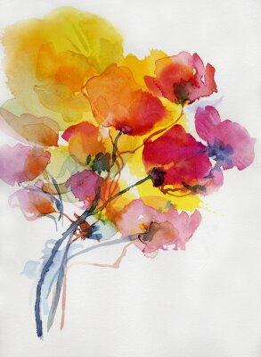 Plakat Mohnblumen Malerei aquarell