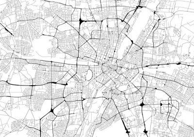 Plakat Monochromatyczna mapa miasta z siecią dróg w Monachium