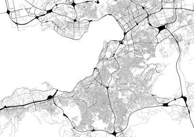 Plakat Monochromatyczna mapa miasta z siecią drogową Izmiru