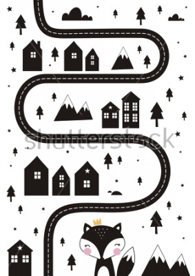 Plakat Monochrome Scandinavian vector maze. Cartoon roads with house, tree and car for kids. Vector maze cartoon poster. You can use it to print on the carpet for the decor of the children's room.