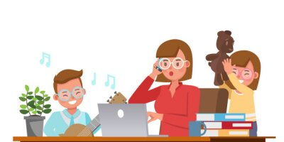 Plakat Mother working from home with kids character vector design. Social distancing and self-isolation concept.